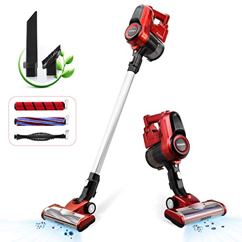 Cordless Stick Vacuum 2 in 1 Handheld Vac 2 Speeds 130W for Hard Floor and Carpet