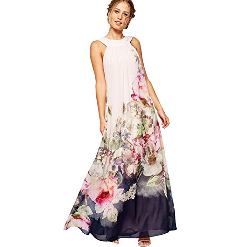 NREALY Women's Summer Women Casual Fit and Flare Floral Sleeveless Dress Clearance(XL, White) by NREALY