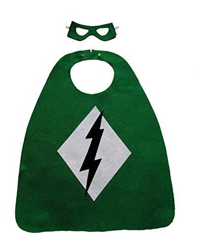 Superhero Costume Set for Kids (green with shield/lightning bolt) -