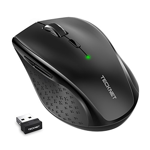 TeckNet Classic 2.4G Portable Optical Wireless Mouse with USB Nano Receiver for Notebook,PC,Laptop,Computer,6 Buttons,18 Months Battery Life,2400 DPI,5 Adjustment Levels
