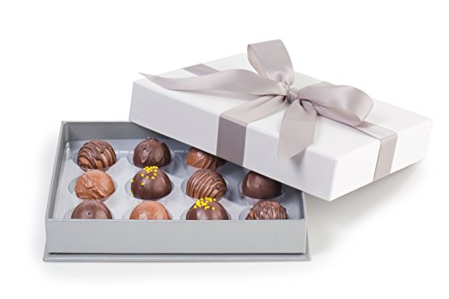 - ASTOR Chocolate 12 Piece Belgian Signature Truffles Gift Box (Silver Ribbon)
