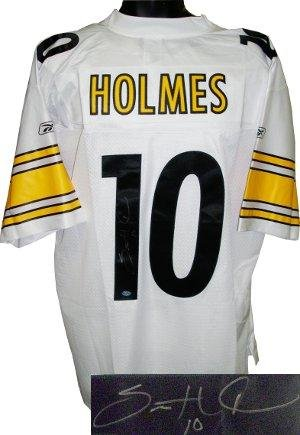 Autographed Santonio Holmes Jersey - White Reebok EQT #10 Hologram - Autographed NFL Jerseys