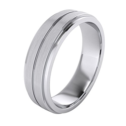 Heavy Solid Sterling Silver 6mm Unisex Wedding Band Comfort Fit Ring Brushed Raised Center Grooved Polished Sides (13.5)