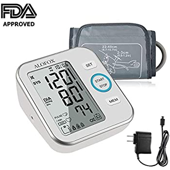 ALOFOX Blood Pressure Monitor Accurate Automatically Measure Pulse Diastolic Systolic Upper Arm Bp Machine for Home Use 2 User Mode with Large Cuff and ...