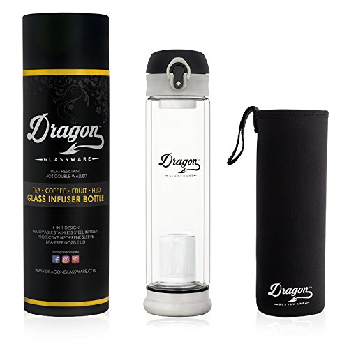 Dragon Glassware Tea Infuser Bottle   14 oz Double Wall Insulated Glass Bottle with Flip-Top Lid & 2 Stainless Steel Infusers + Travel Sleeve   BPA Free   Loose Leaf Tea, Coffee   Gift Boxed (Dragon Glass Ball)