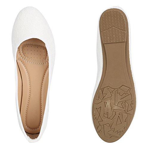 Stiefelparadies Damen Ballerinas Lack Schleifen Flats Zierperlen Nieten Metallic Schuhe Slippers Velours Cut-Outs Leder-Optik Übergrößen Flandell Weiss Camiri