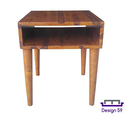 Design 59 inc Mid-Century Modern Acacia Hardwood Side / End Table / Night Stand, NO TOOLS (Media Storage End Table)