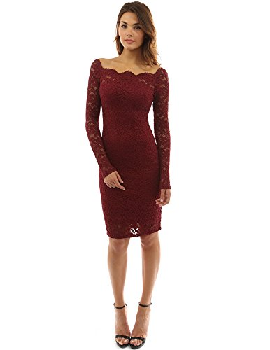 Glass Thick 1/2 Top 42 - PattyBoutik Women Off Shoulder Floral Lace Twin Set Dress (Burgundy Medium)