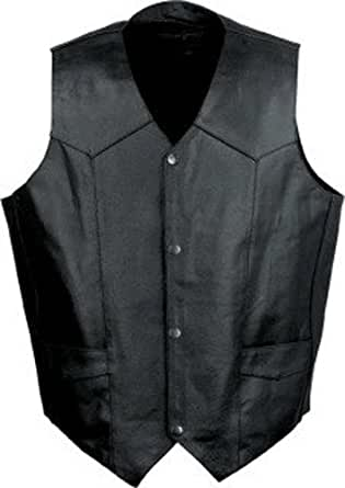 Small Black Men's Leather Motorcycle Vest