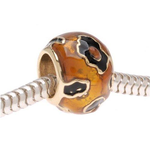 Beadaholique Enamel Cheetah Animal Print Large Hole Bead, Fits Pandora, 22K Gold Plated