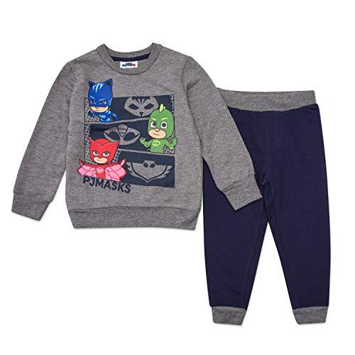 PJ Masks Hoodie Jogger Set - 1 PJ Masks Hoodie & 1 PJ Masks Sweatpants Featuring Catboy, Gekko & Owlette (Grey/Blue, 2T)