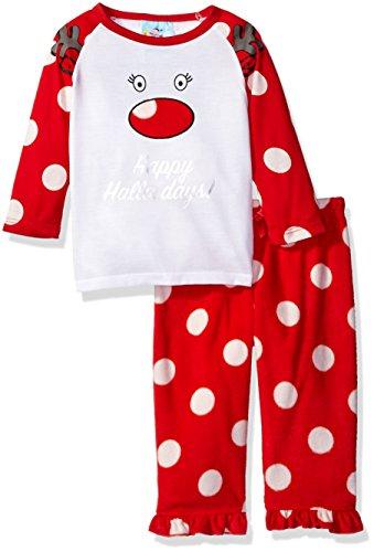 Bunz Kidz Little Girls' Toddler Happy Holla Days Deer 2 Piece Pajama Set, Red, - Clothing Holla