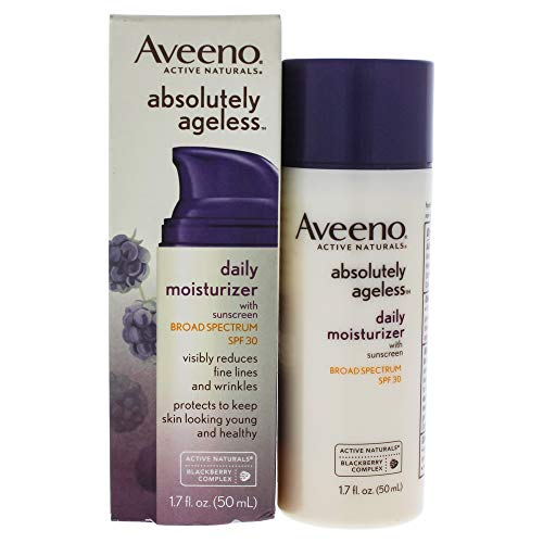 41ww7o5WXfL - Aveeno Absolutely Ageless Daily Facial Moisturizer with Broad Spectrum SPF 30 Sunscreen, Antioxidant-Rich Blackberry Complex, Vitamins C & E, Hypoallergenic, Non-Comedogenic & Oil-Free, 1.7 fl. oz