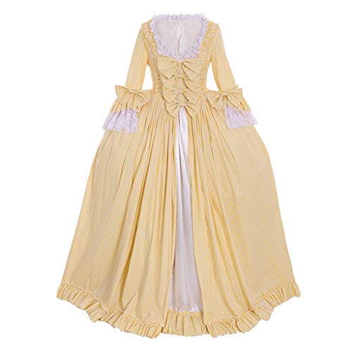 CosplayDiy Women's Rococo Ball Gown Gothic Victorian Dress Costume (M, Yellow Stripe)
