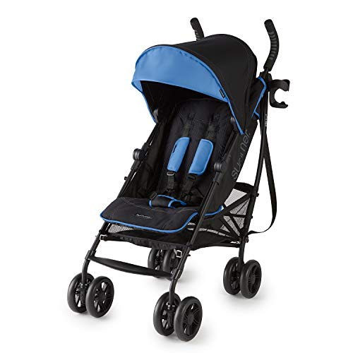Summer 3Dlite+ Convenience Stroller, Blue/Matte Black - Lightweight Umbrella Stroller with Oversized Canopy, Extra-Large Storage and Compact Fold