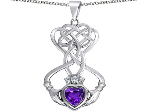Star K Celtic Knot Claddagh Heart Pendant Necklace with Heart Shape Simulated Amethyst Sterling Silver ()
