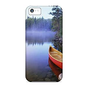 Case Cover Red Conoe In A Misty Lake/ Fashionable Case For Iphone 5c