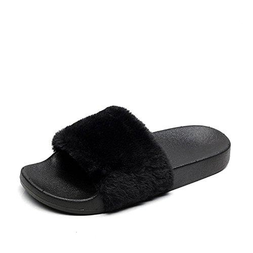 Toe Sur Fluffy Fourrure Femmes Slip Flip Slipper Flop Comfy Open Noir Fuzzy Sliders Apika Faux OgxFawOP