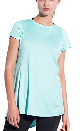SPECIALMAGIC Women's Athletic Fashion Short Sleeve Crew Neck Loose Tee T-Shirt Light Blue L