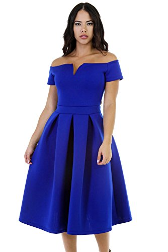 (Lalagen Women's Vintage 1950s Party Cocktail Wedding Swing Midi Dress Blue S)
