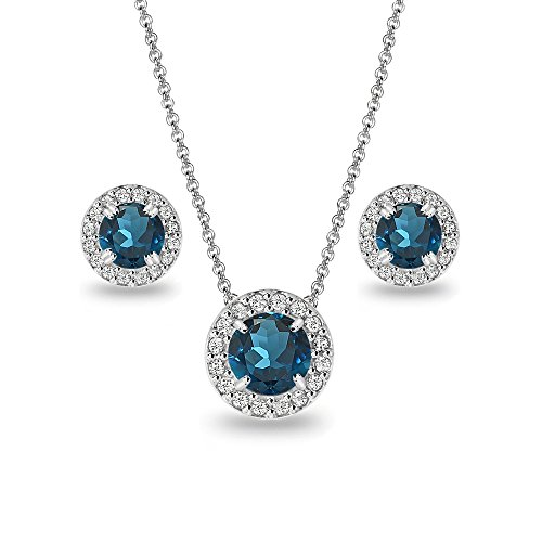 (Sterling Silver London Blue Topaz and White Topaz Round Halo Necklace and Stud Earrings Set)