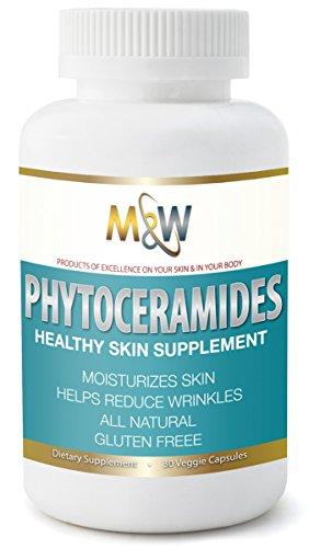 M & W Phytoceramide hydratant de la peau - formule Exclusive 350mgm - aide à arrêter le vieillissement prématuré - aide réparation de dommages du soleil - travaille à réduire les ridules, corneilles pieds & de rides - favorise la jeune peau saine