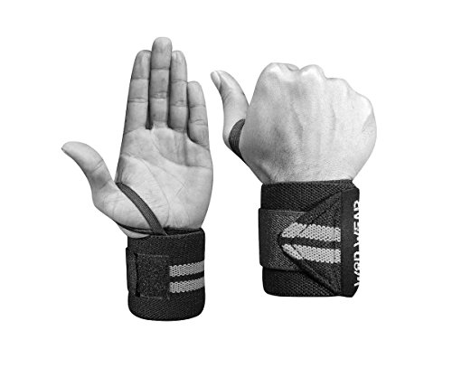 Limitation Wrist Support - Elastic Wrist Wraps - 18 Inch Pair for Fitness, Powerlifting, Bodybuilding, Weight Lifting, Cross-Training Wrist Supports for Weight Training - with Hook and Loop Grip