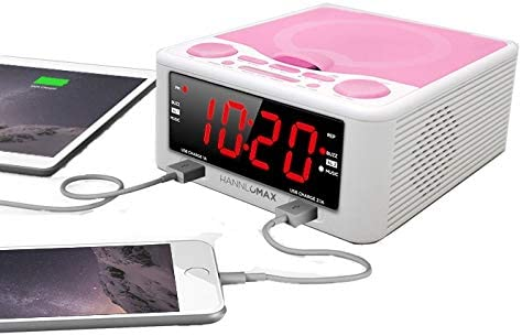 White/_Pink Digital Clock HANNLOMAX HX-300CD Top Loading CD Player Dual Alarms PLL FM Radio 1.2 Inches Red LED Display Dual USB Ports for 2.1A and 1A AC//DC Adaptor Included