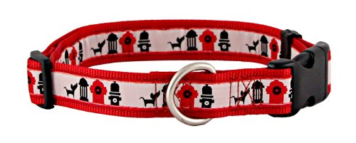 Hydrant Line Up Jacquard Ribbon Dog Collar Closeout - Large