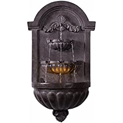 Kenroy Home 51011PLBZ San Pablo Wall Fountain with Light, 35 Inch Height, Plum Bronze