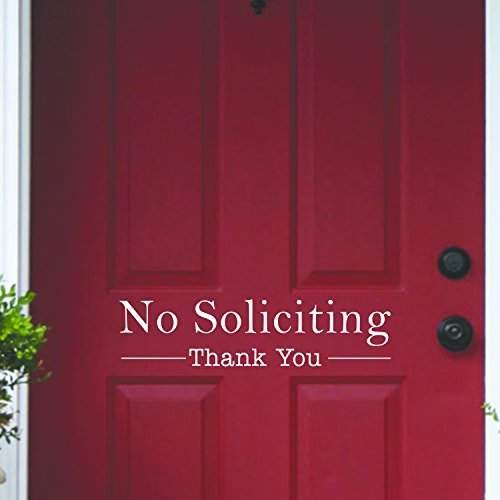 Vinyl Wall Art Decal - No Soliciting Thank You - 5'' x 20'' Decoration Adhesive Sticker - Home Rules Signs Outdoor And Indoor Decor Peel Off Stencil Adhesives for Walls Doors Windows (5'' x 20'', White) by Pulse Vinyl