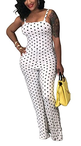 Bluewolfsea Womens Plus Size Polka Dot Jumpsuit Romper Clubwear One Piece Outfits Casual XX-Large 0-White -