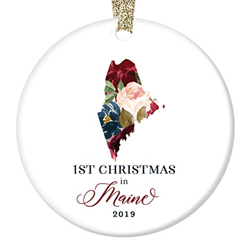 2019 Christmas Porcelain Ornament Present First 1st Holiday Season in MAINE U. S. A. Keepsake Friends Family Relative Lovely Flower Blooms 3