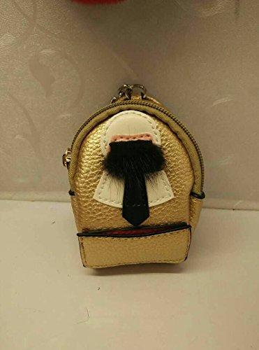 Monster Lafayette mini Backpack Purse with mink fur bag pendant Keychain (golden)