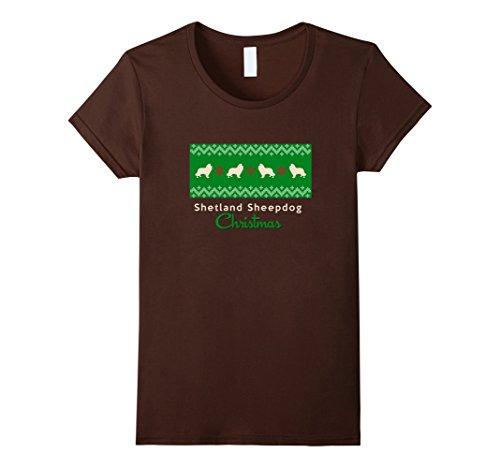 Women's Dog Ugly Christmas Sweater Shetland Sheepdog Sheltie T-Shirt Large Brown