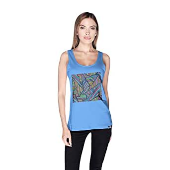 Creo Abstract 02 Retro Tank Top For Women - M, Blue