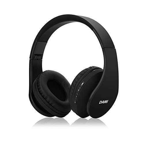 Dami Bluetooth Headphones, Hi-Fi Stereo Wireless Over Ear Headsets w/ Built-in Micphone, Foldable, Soft Memory-Protein Earmuffs, and Wired Mode for PC, Cell Phones, TV in Black Color