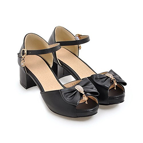 Sandals 1TO9 Urethane Black Solid MJS03164 Womens Peep Structured Toe xqrwqYvp