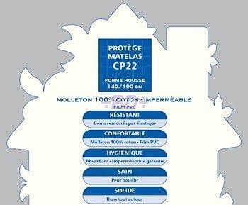 Prot/ège Matelas 160//200 Imperm/éable Dessus 100 /% coton, Dessous, Film polyur/éthane