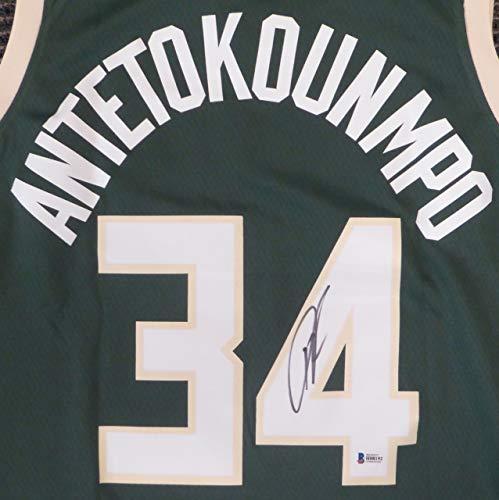 Autographed Authentic Green Jersey - Milwaukee Bucks Greek Freak Giannis Antetokounmpo Autographed Green Authentic Swingman Jersey Size 48 Beckett BAS