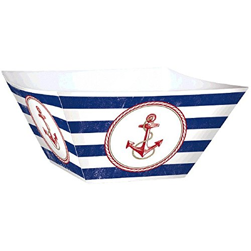 Amscan Anchor's Aweigh Nautical Party Square Bowls Serveware (Pack of 3), Multicolor, 12 1/2