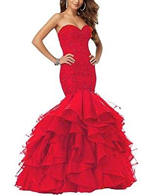 Eldecey Women's Mermaid Lace Applique Beaded Layered Ruffles Pageant Prom Dress