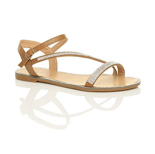 Flat Sandals Women Size Camel Trim Rhinestone Ajvani Tan 5UqRw