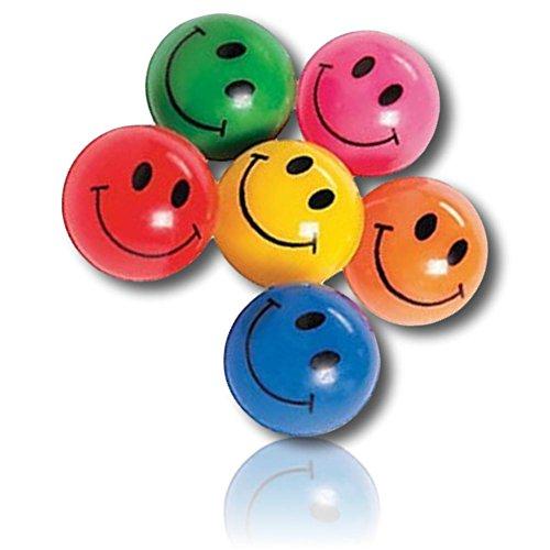Custom & Unique {25mm} 1 Dozen, Small Size Super High Bouncy Balls, Made of Grade A+ Rebound Rubber w/ Bright Vibrant Rainbow Neon Happy Smiley Face Emoji Expressive Expressions Style (Multicolor)