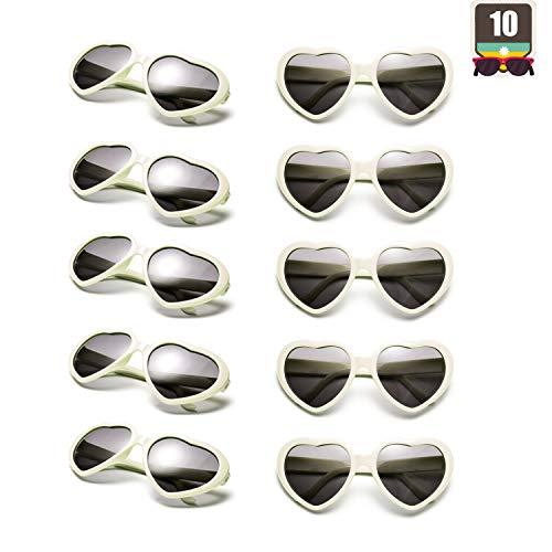 10 Packs Neon Colors Wholesale Heart Sunglasses (White) ()