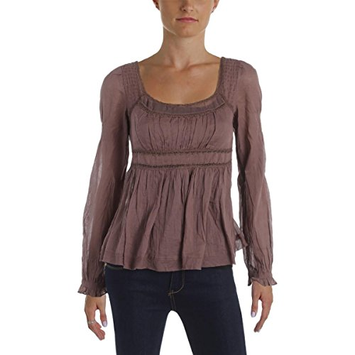 Free People Womens Embellished Square Neck Peasant Top Brown XS