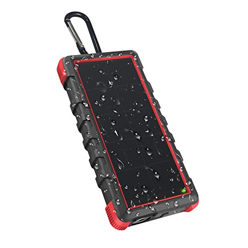 [Quick Charge] OUTXE 24000mAh Rugged Solar Charger with Flashlight Dual Input Type C & Micro USB