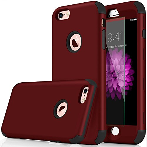iPhone 6s Case,3-in-1 Shockproof Scratch-Resistant Resist Cracking Armor Protective Cover Easy Grip Design with Tempered Glass Screen Protector for Apple iPhone 6 4.7 Inch (Red)
