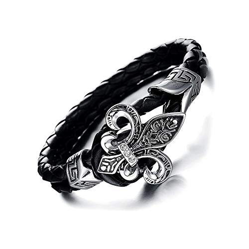 Mens Fleur De Lis - CLY Jewelry Leather Braided Wrap Bracelet Design Black with Titanium Steel Leather Braided Wrap Bracelet Design Black with Lily Fleur De Lis Fashion Casual for Women Cool Style for Men