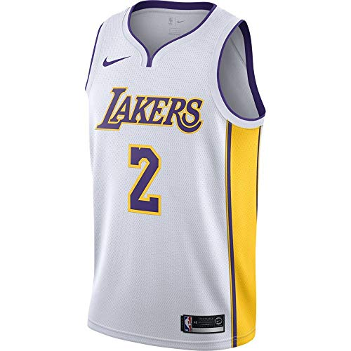 (Nike Lonzo Ball Los Angeles Lakers Association Edition White Swingman Jersey - Men's Small)